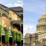 Two images: on the left, the French Quarter in New Orleans; on the right, the National Capitol in Washington, DC
